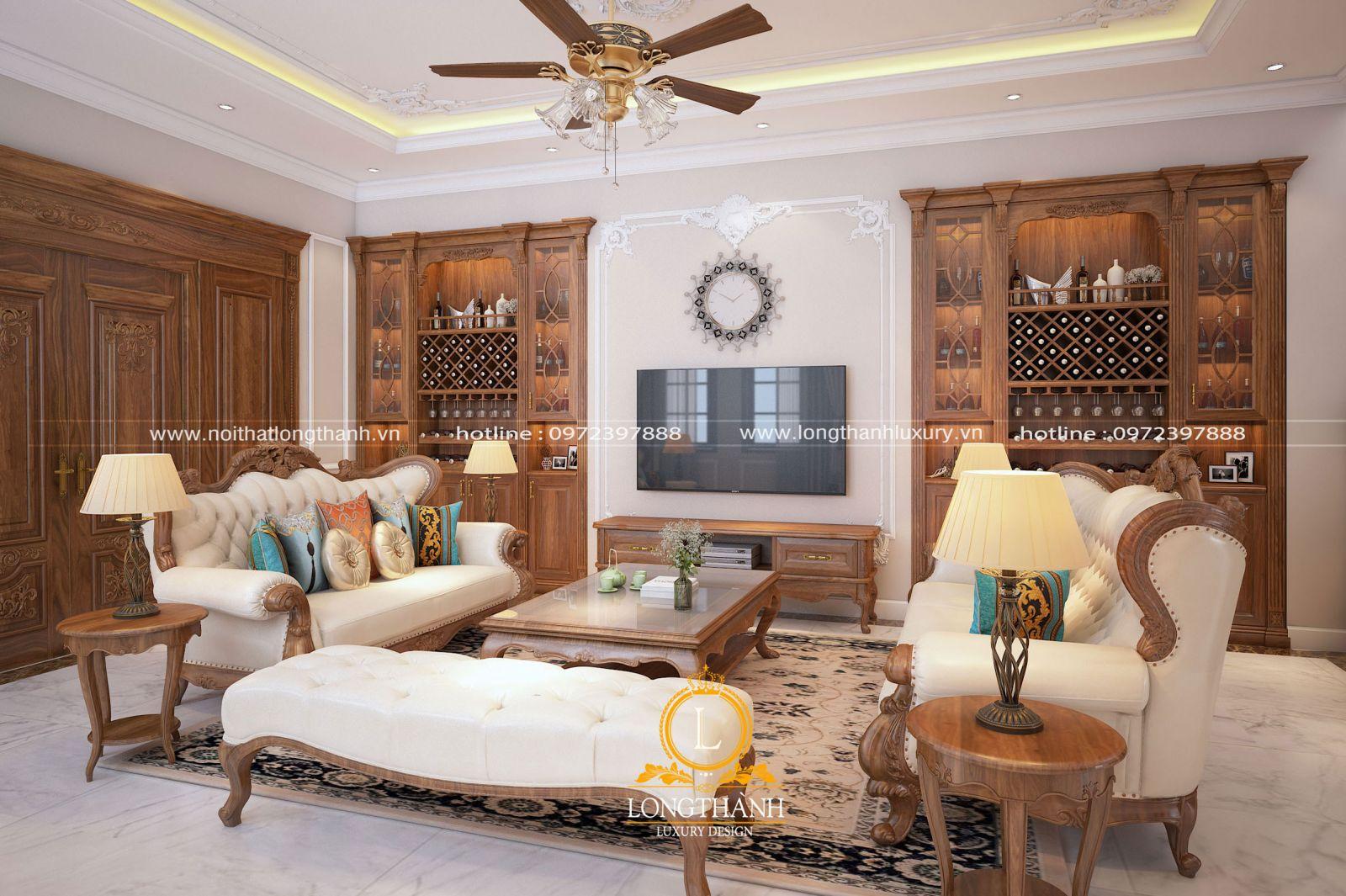 Tủ rượu sang trọng cho phòng khách tân cổ điển hiện đại