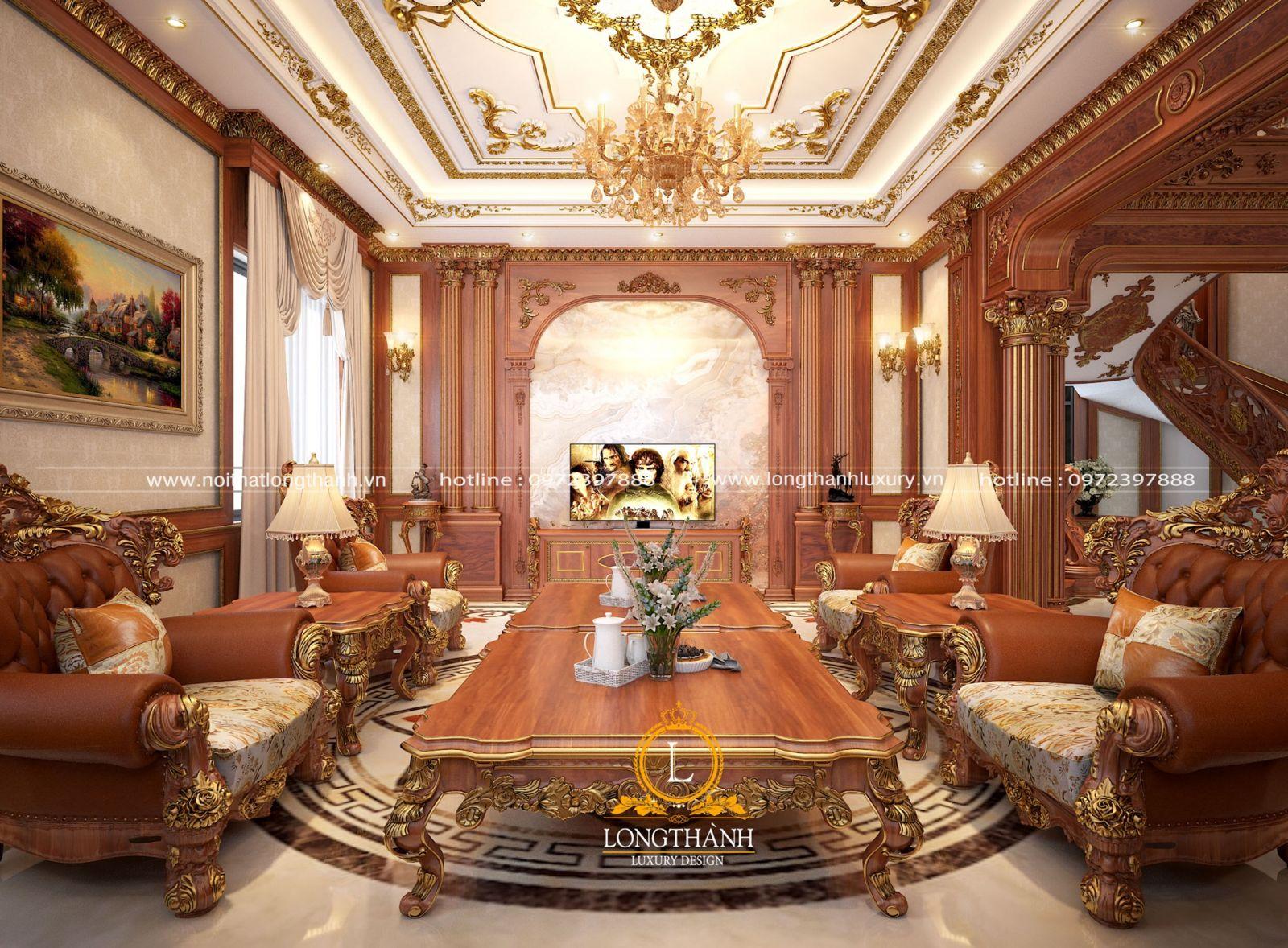 Thiết kế nội thất tân cổ điển cao cấp cho không gian nhà biệt thự dát vàng