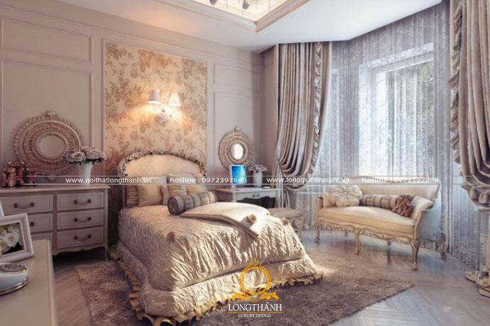 Không gian phòng ngủ cố điển với nội thất cao cấp cho nhà biệt thự