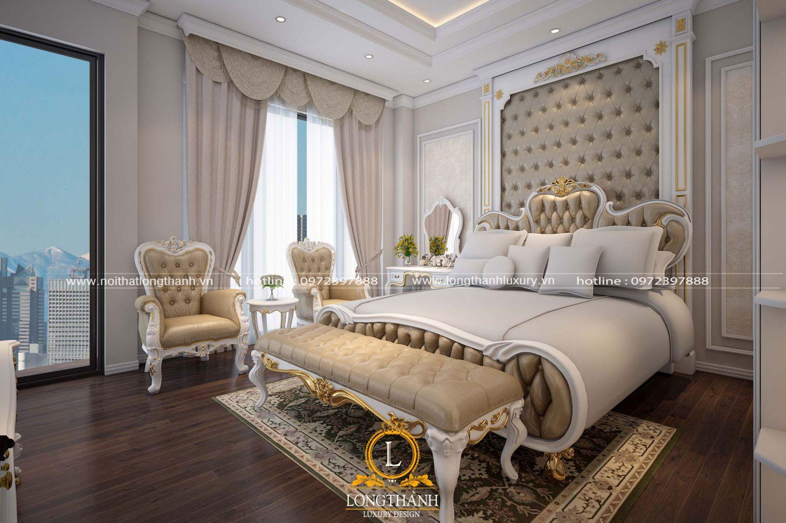 Giường ngủ tân cổ điển sơn trắng dát vàng