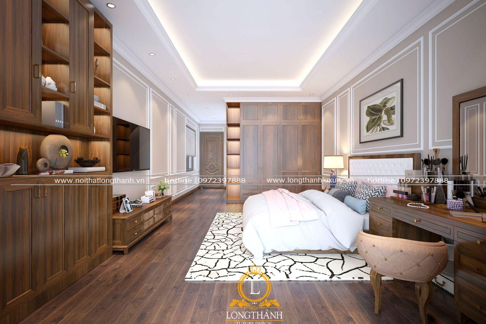 Không gian phòng ngủ nhà ống theo phong cách tân cổ điển