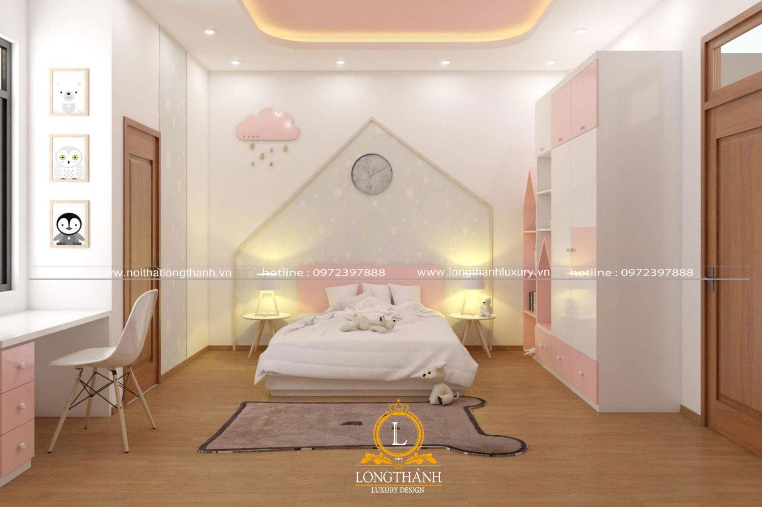 Không gian phòng ngủ nhẹ nhàng dàng cho bé gái