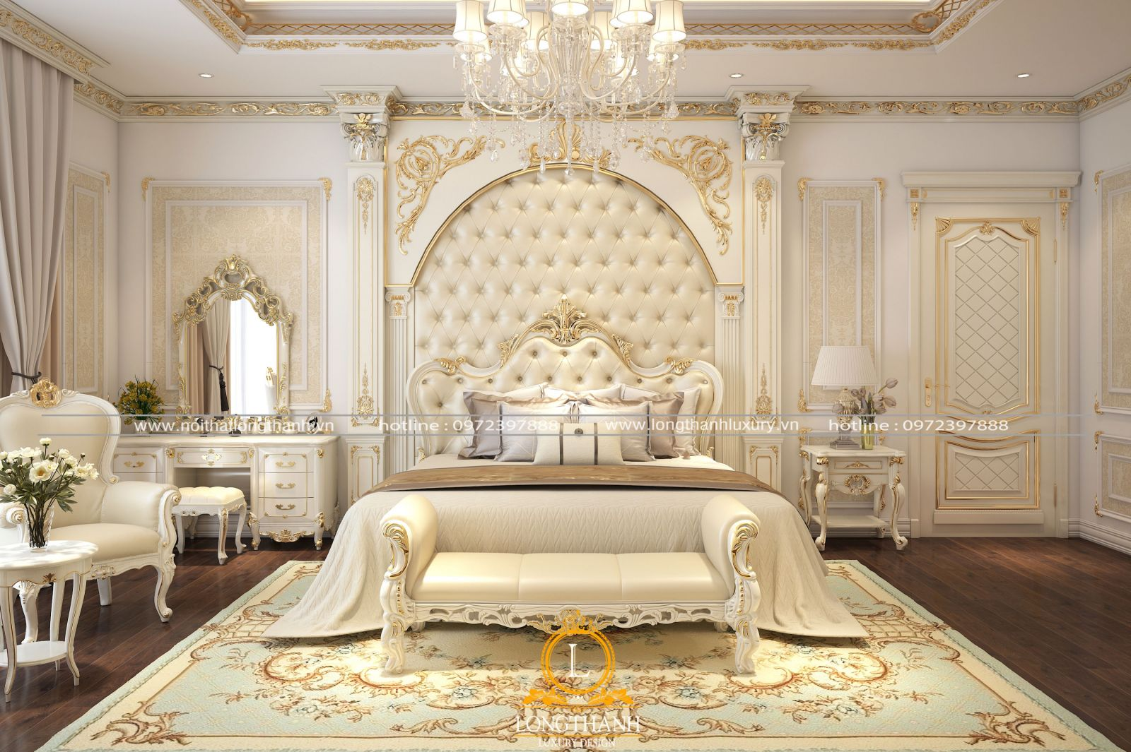 Thiết kế nội thất phòng ngủ tân cổ điển sơn trắng tinh tế và lộng lẫy