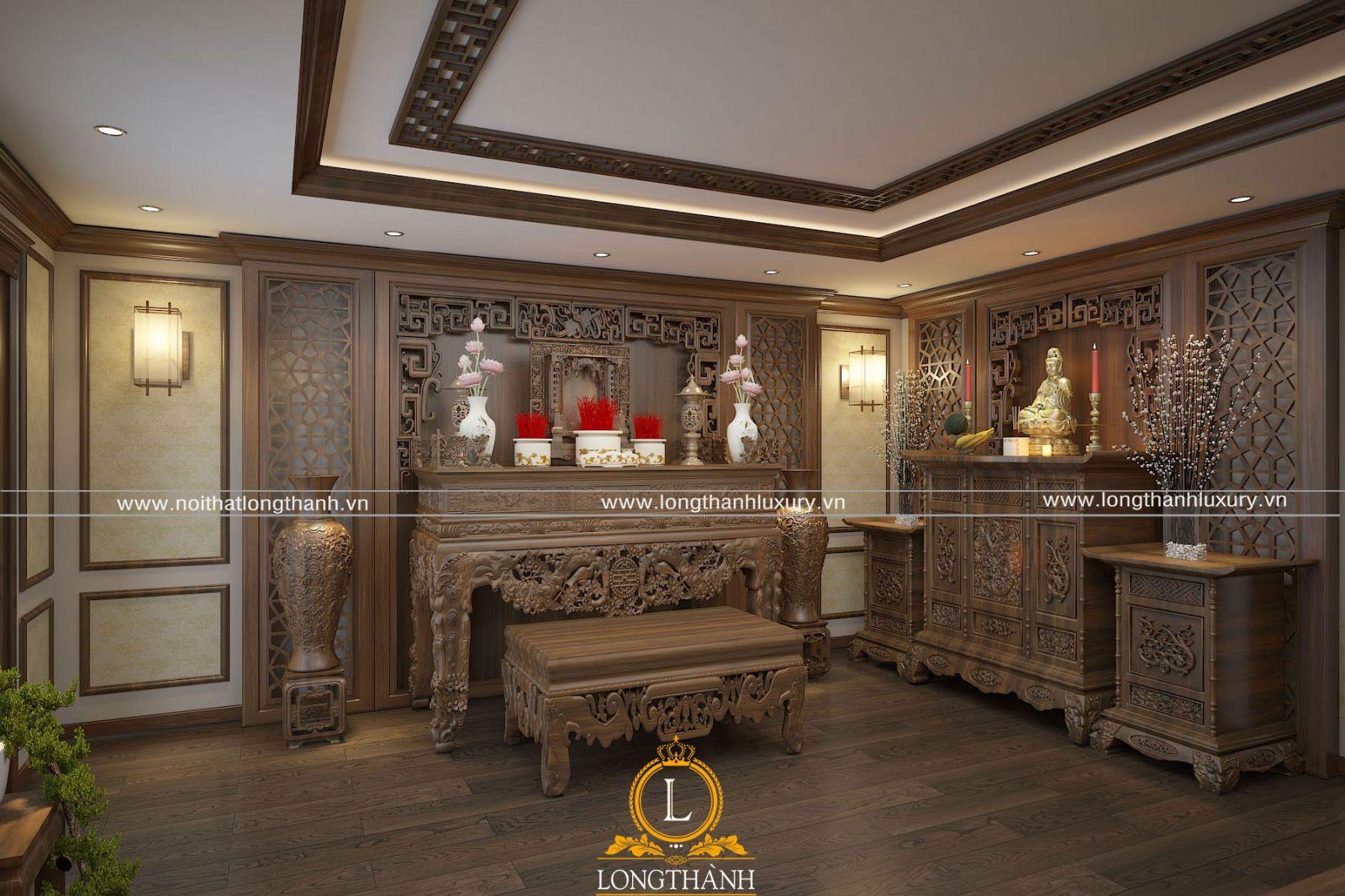 Không gian phòng thờ tân cổ điển trang nghiêm cho nhà biệt thự