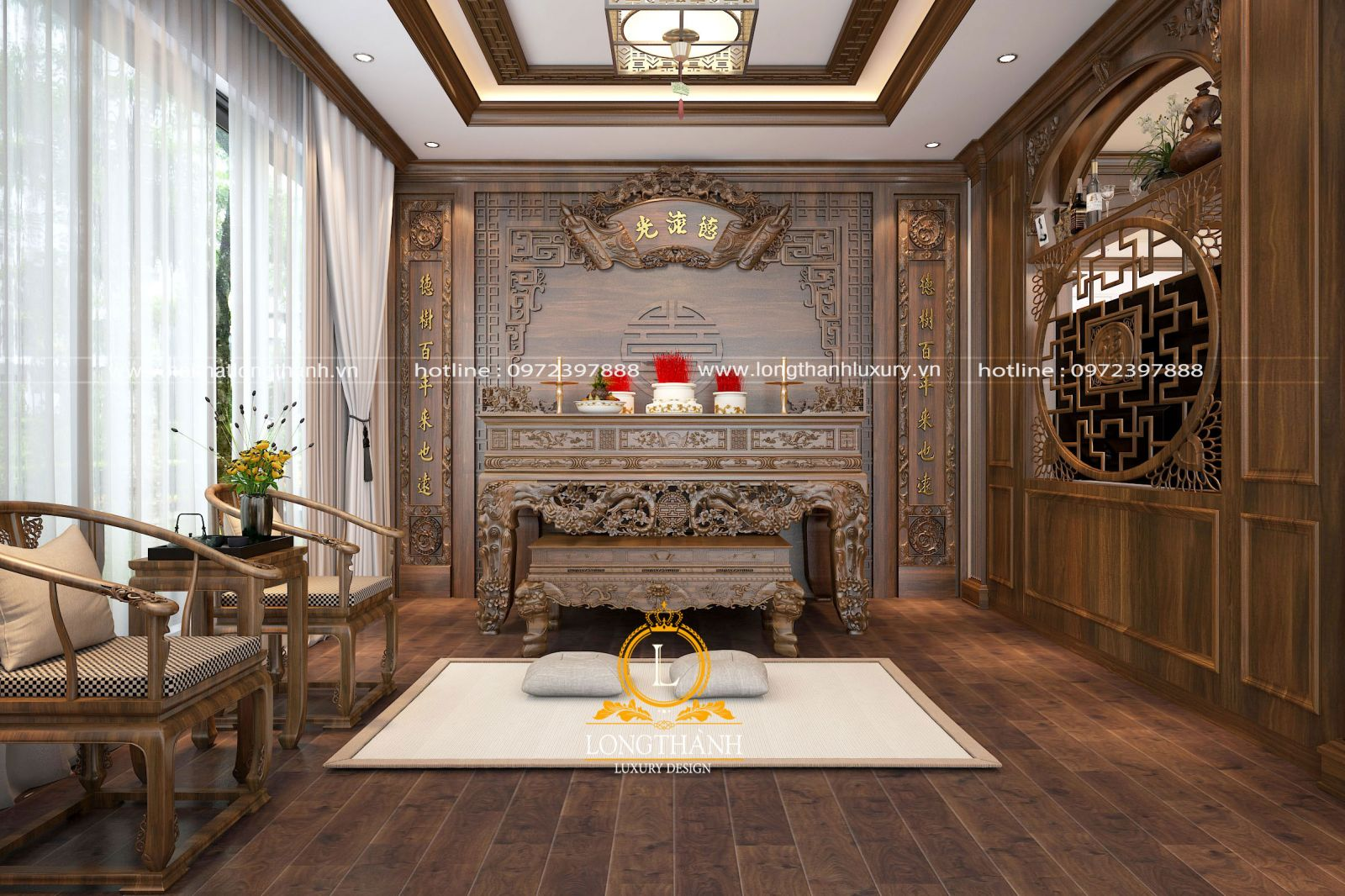 Không gian phòng thờ trang nghiêm với nội thất gỗ gụ