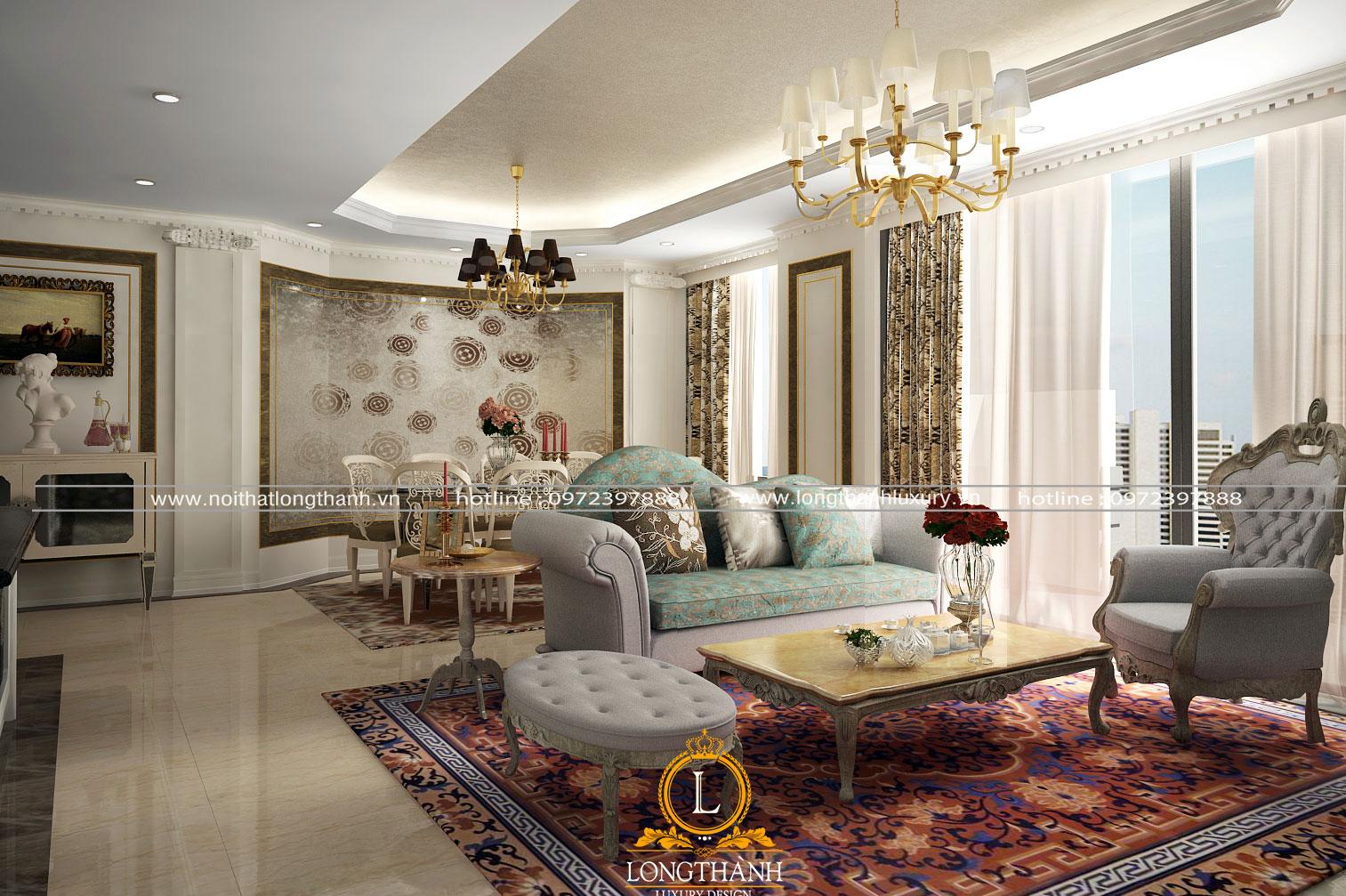 Không gian ấm áp với thảm sofa phòng khách