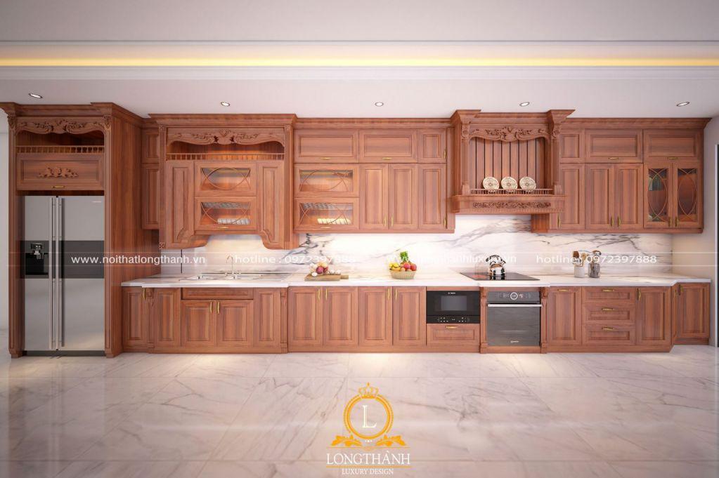 Không gian tinh tế với tủ bếp tân cổ điển sơn đỏ