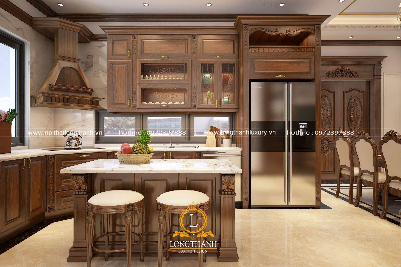 Tủ bếp gỗ tự nhiên với thiết kế vuông góc chữ L kèm bàn đảo