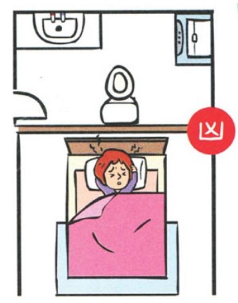 Không nên đặt giường đối diện nhà vệ sinh, phòng tắm