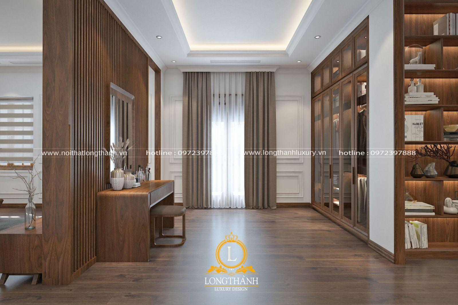 Phòng ngủ hiện đại thiết kế phân chia không gian theo công năng sử dụng tiện nghi