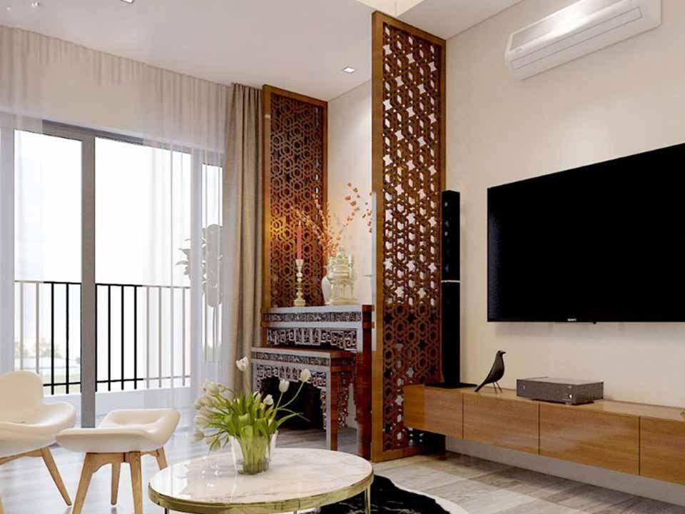 Thiết kế kích thước bàn thờ phù hợp với diện tích chung cư và phong thủy phòng khách
