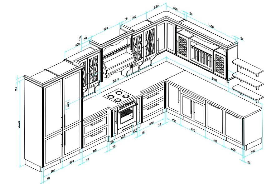 Kích thước tủ bếp chữ L