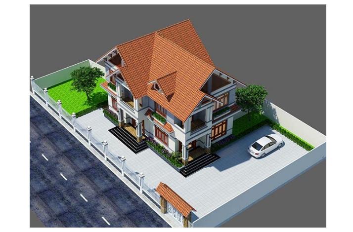 Tổng thể mẫu kiến trúc nhà biệt thự 2 tầng rộng với thiết kế đơn giản