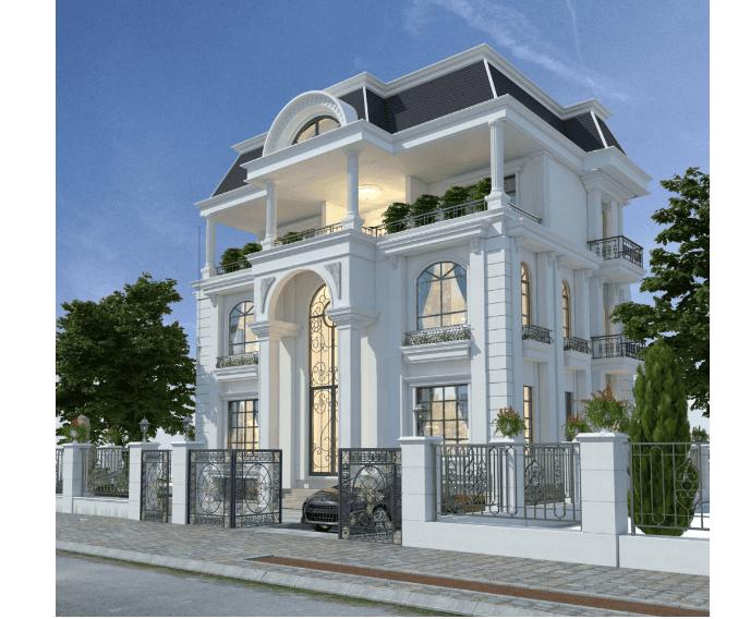 Kến trúc mặt nghiêng phải của nhà biệt thự 3 tầng tân cổ điển