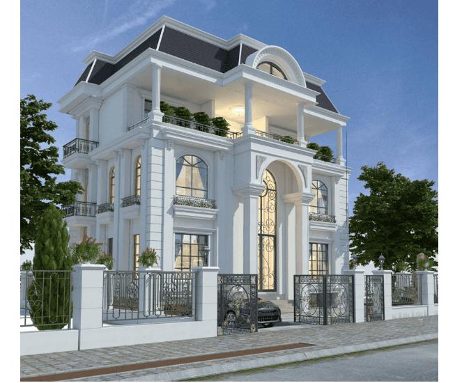 Kiến trúc biệt thự tân cổ điển 3 tầng với góc nghiêng trái