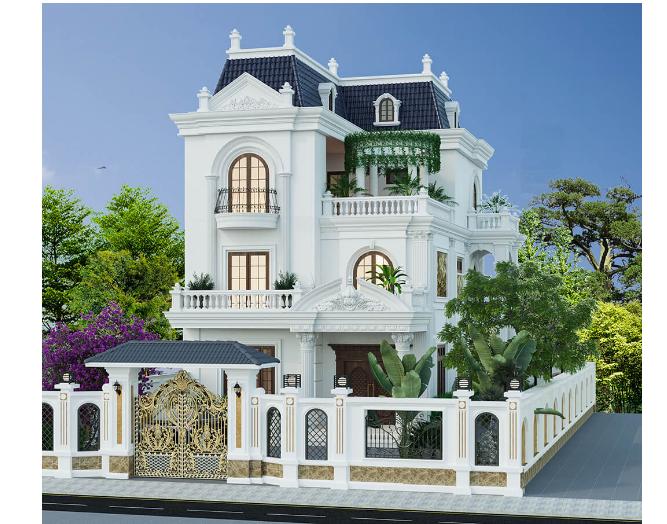 Kiến trúc nhà biệt thự 3 tầng có diện tích mặt tiền rộng