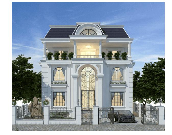 Kiến trúc mặt trước của biệt thự 3 tầng được thiết kế kiến trúc tân cổ điển