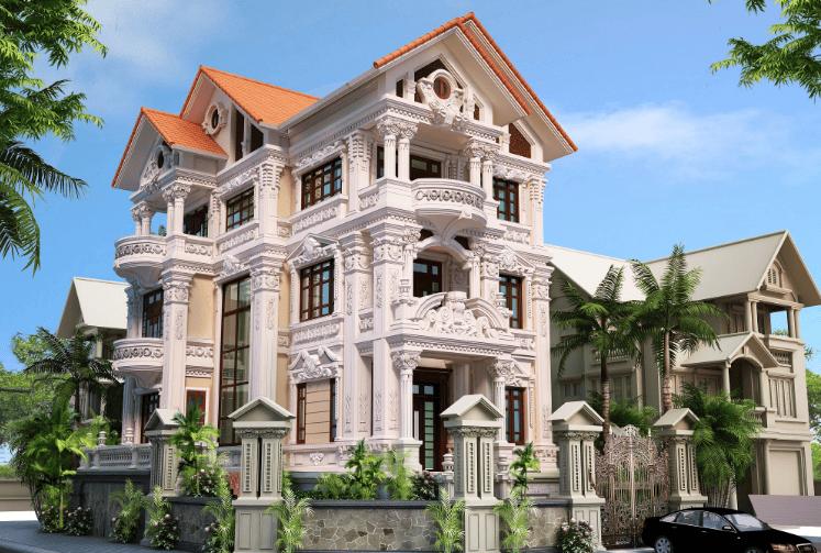 Tổng thể kiến trúc cổ điển nhà biệt thự phố nguy nga lộng lẫy