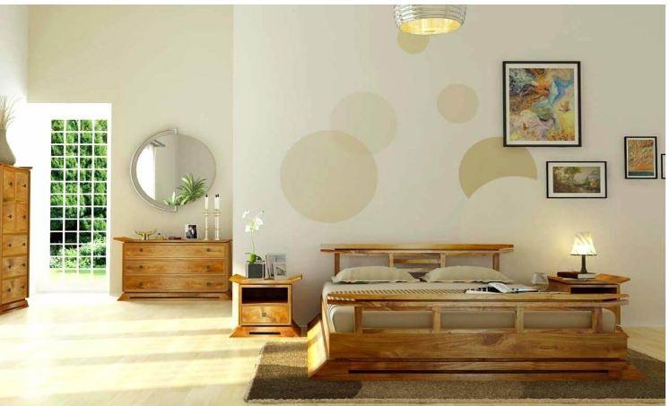 Mẫu giường ngủ đơn giản gỗ tự nhiên theo phong cách Zen thiền