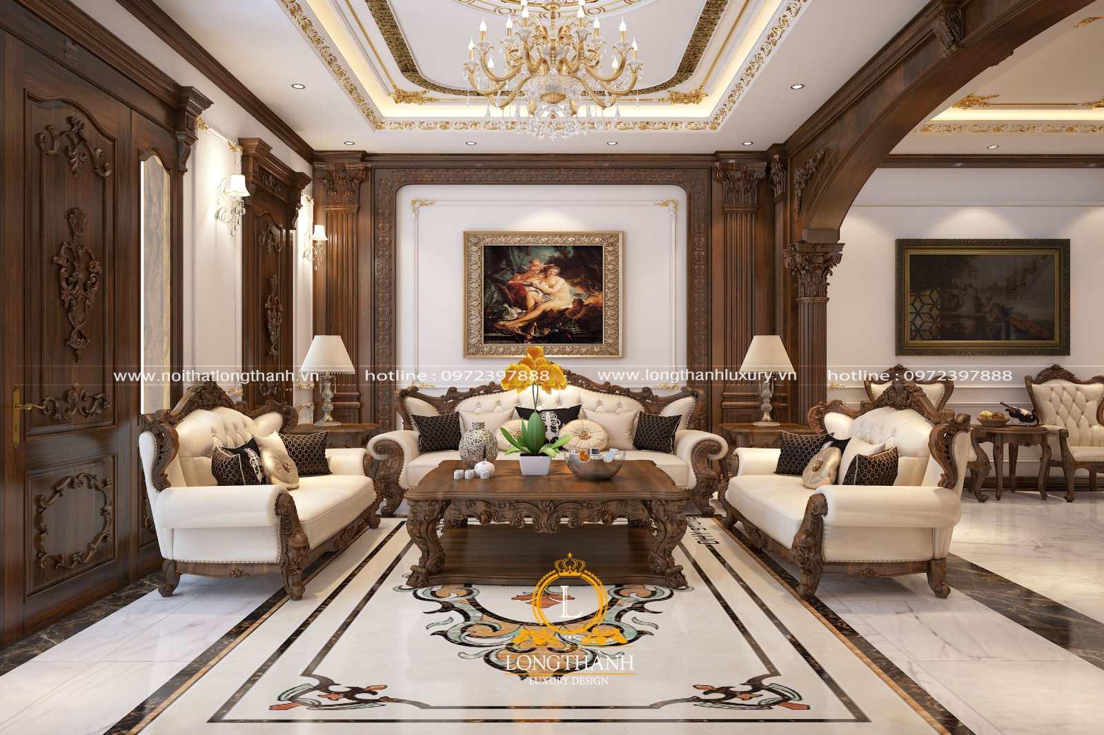 Nội thất phòng khách biệt thự thường sử dụng gỗ tự nhiên là chủ yếu