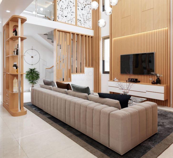 Ứng dụng Lam gỗ trong phòng khách