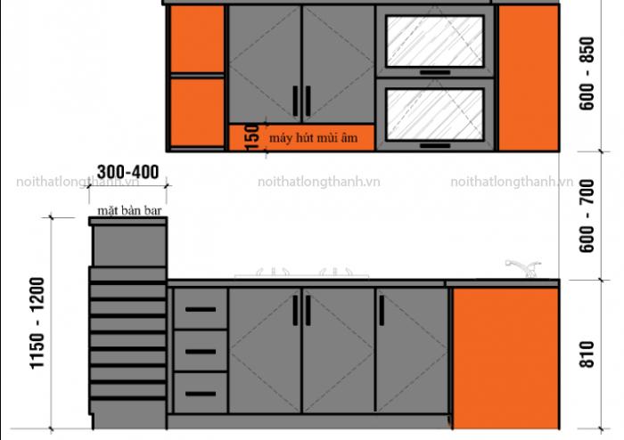 Lựa chọn kích thước tủ bếp phù hợp với diện tích