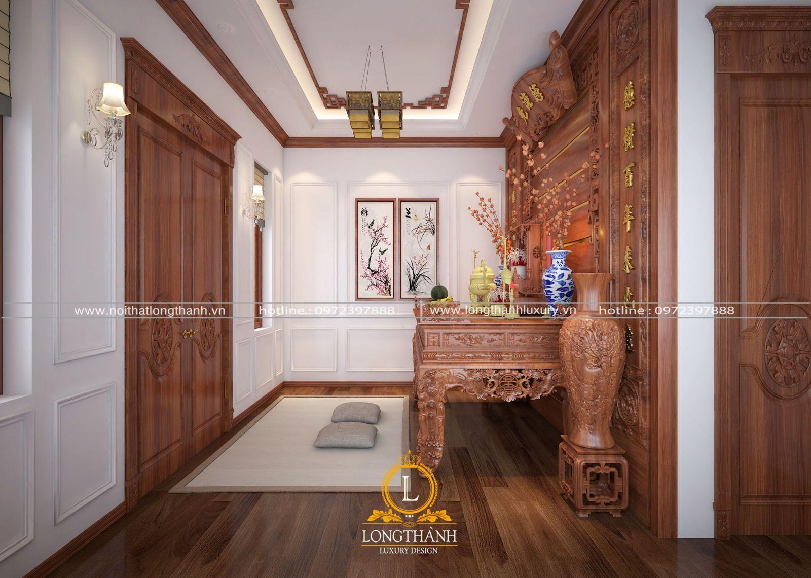 Lựa chọn nội thất gỗ tự nhiên phù hợp với diện tích phòng thờ biệt thự