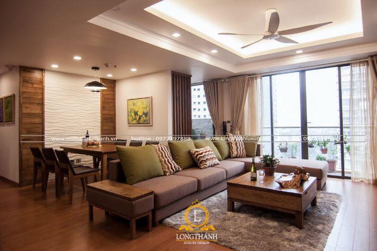 Không gian nội thất hiện đại cho phòng khách liên hoàn bếp nhà chung cư