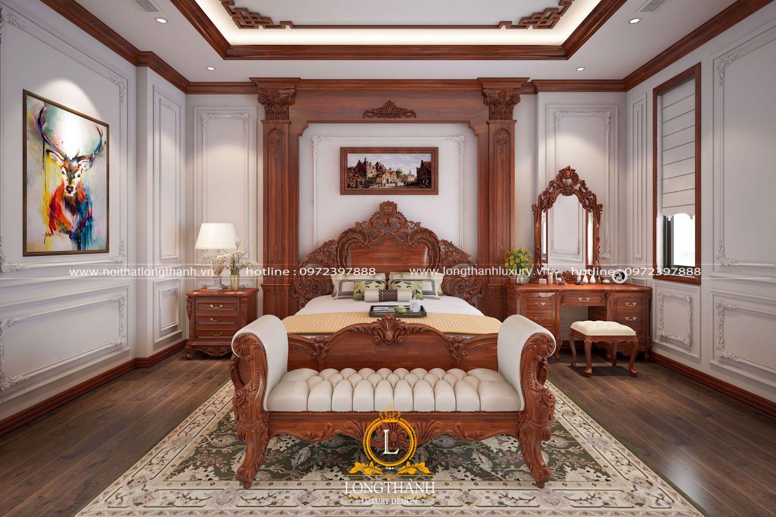 Nội thất phòng ngủ ấm cúng từ gỗ Gõ đỏ