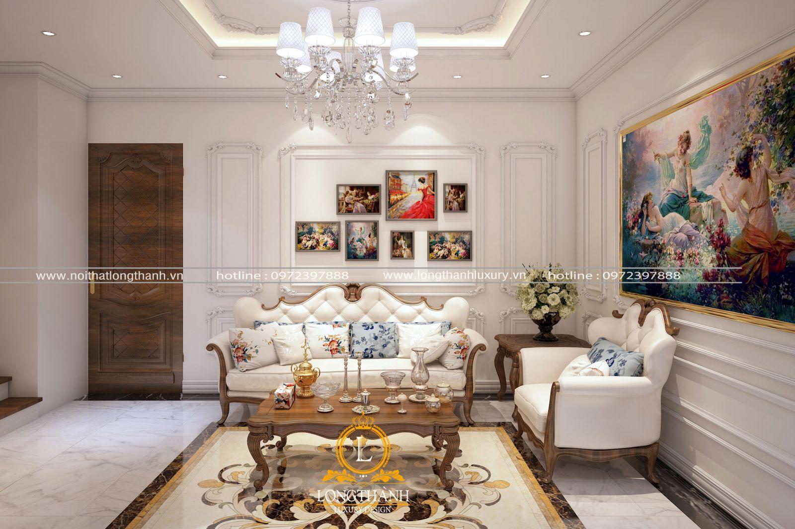 Phòng sinh hoạt chung với phong cách tân cổ điển nhẹ nhàng