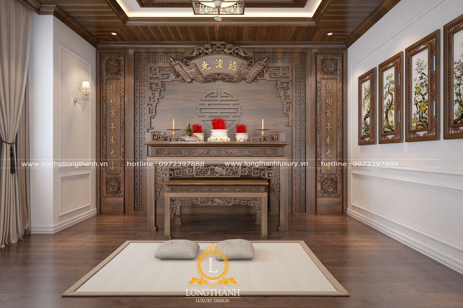 Thiết kế không gian phòng thờ tân cổ điển đẹp từ gỗ Óc chó
