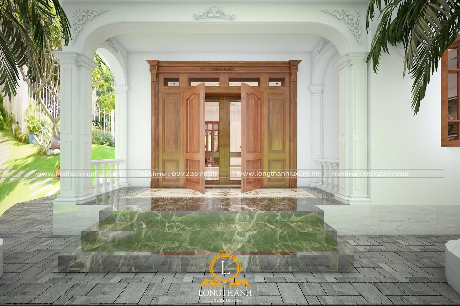 Mẫu cửa 4 cánh đẹp hiện đại gỗ tự nhiên nguyên khối cho nhà biệt thự