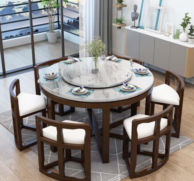 Mẫu bàn ăn theo phong cách tân cổ điển đơn giản nhỏ gọn