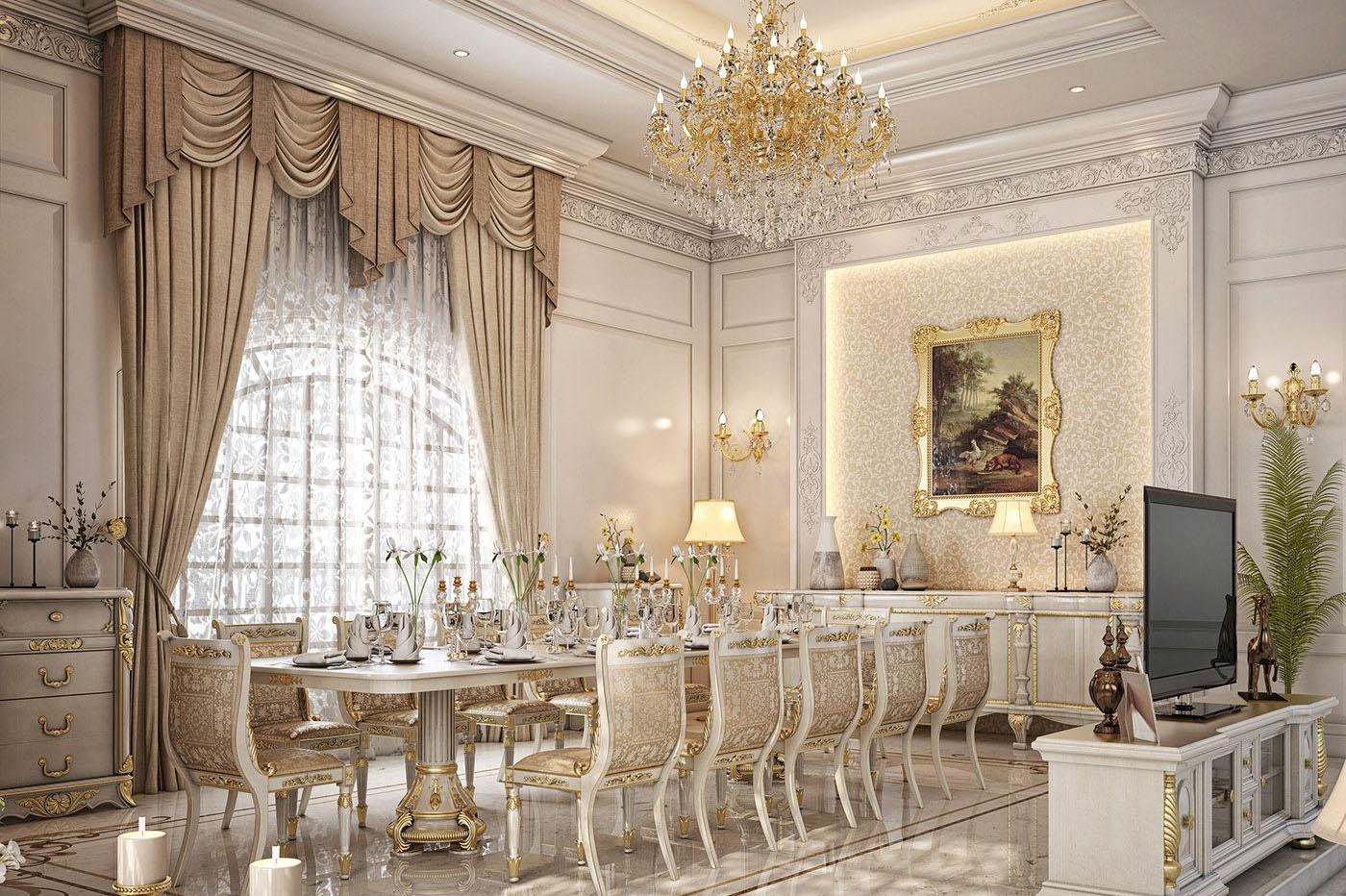 Mẫu phòng ăn nhà biệt thự man phong cách Hoàng gia