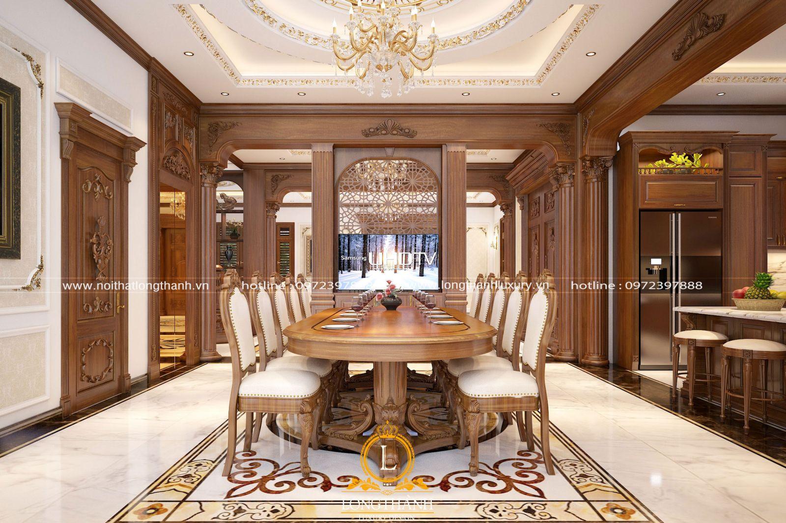Mẫu bàn ăn tân cổ điển 10 ghế cho biệt thự