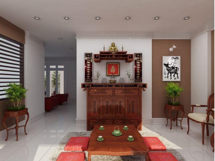 Thiết kế bàn thờ nhà chung cư sử dụng cây xanh cân đều ở hai bên