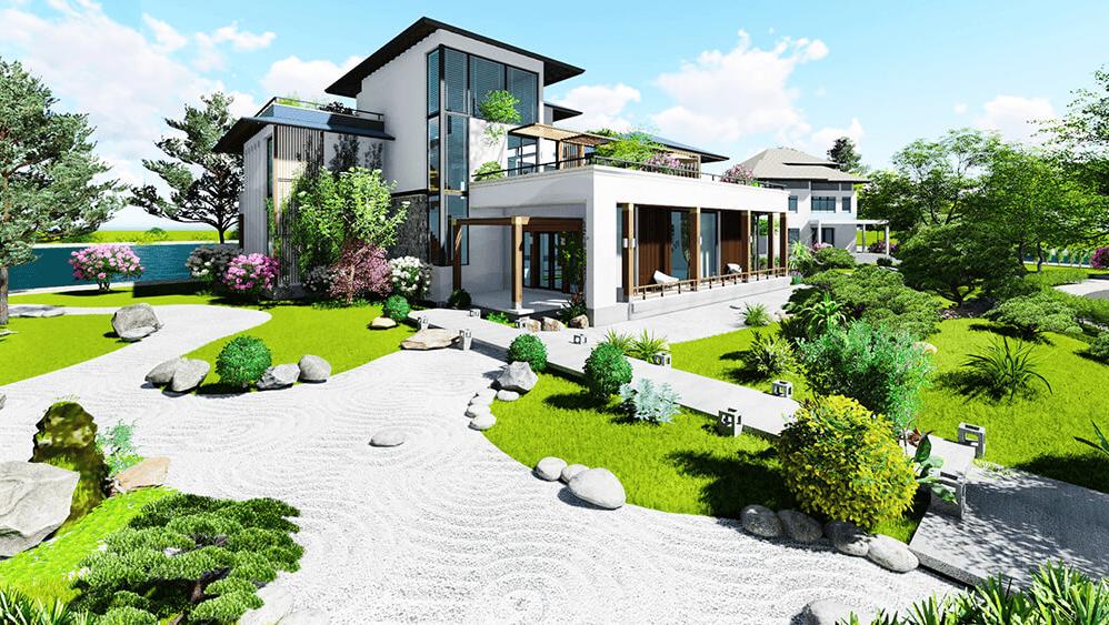 Ngôi nhà nằm giữa khoảng không gian xanh ngát