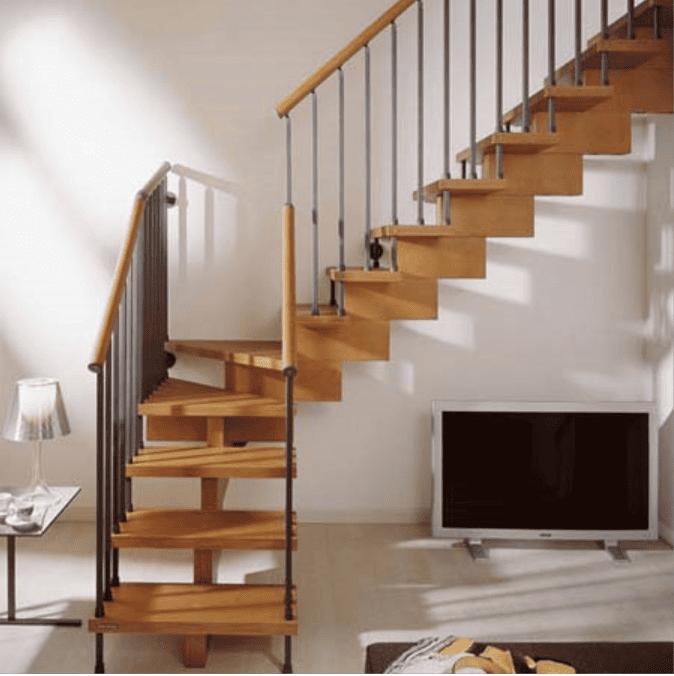 Cầu thang gỗ cho nhà hẹp
