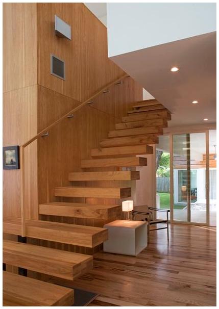 Mẫu cầu thang gỗ nguyên khối