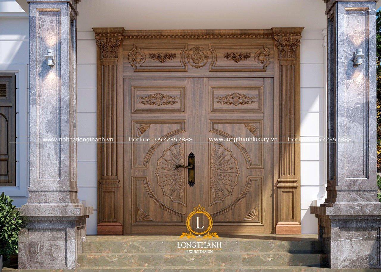 Mẫu cửa chính đẹp bằng gỗ gõ đỏ Nam Phi