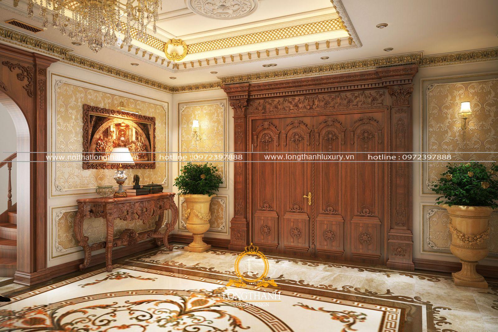 Cửa chính ra vào được làm từ gỗ Gõ đỏ tự nhiên