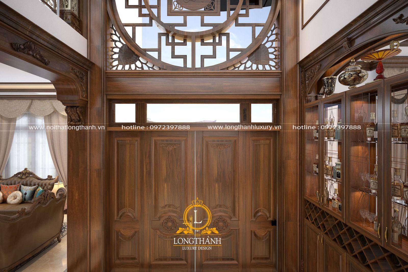 Mẫu cửa 4 cánh đẹp được làm từ gỗ Hương tự nhiên