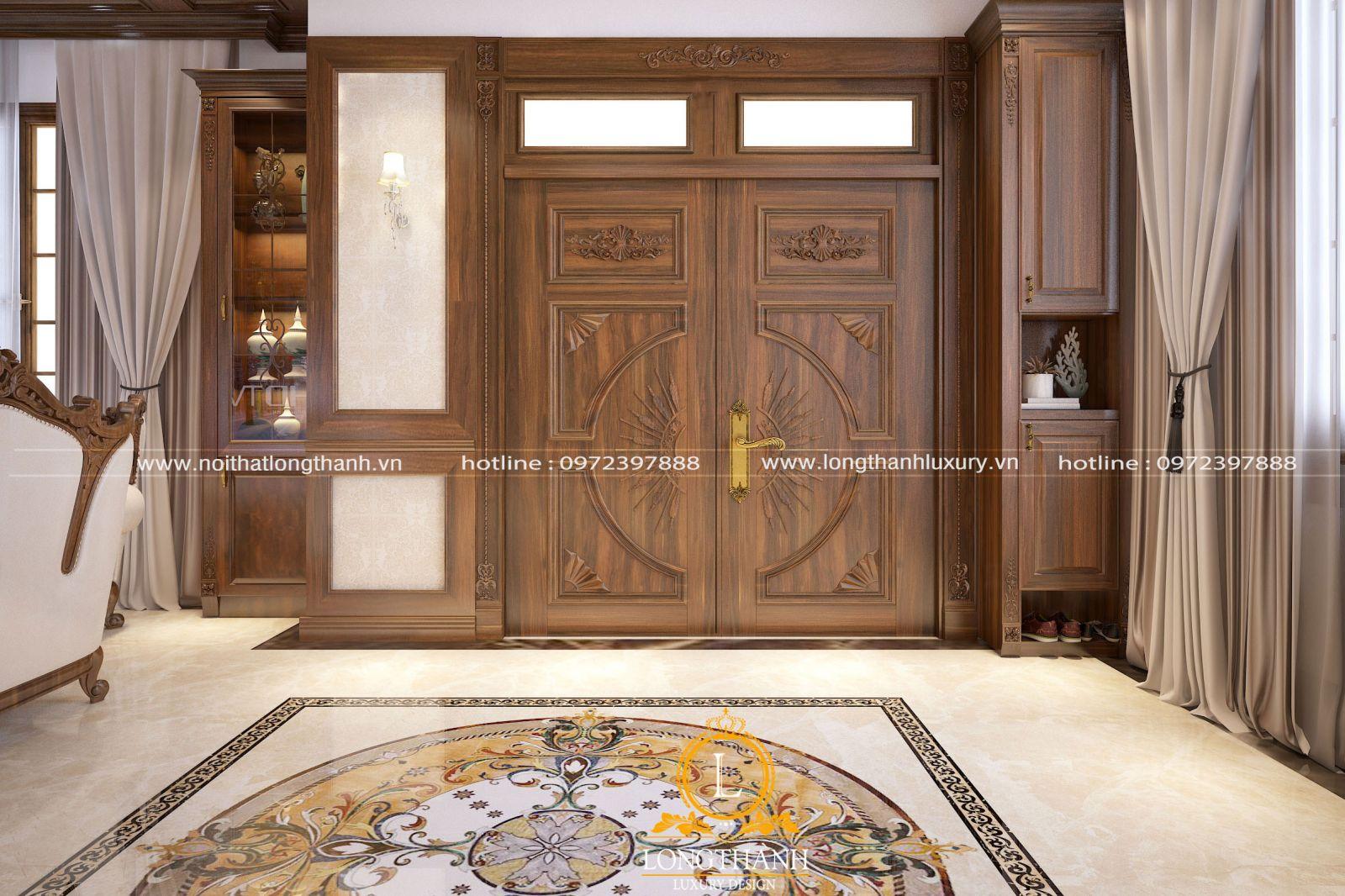Mẫu cửa chính tân cổ điển gỗ Gõ tự nhiên với thiết kế san trọng tinh tế