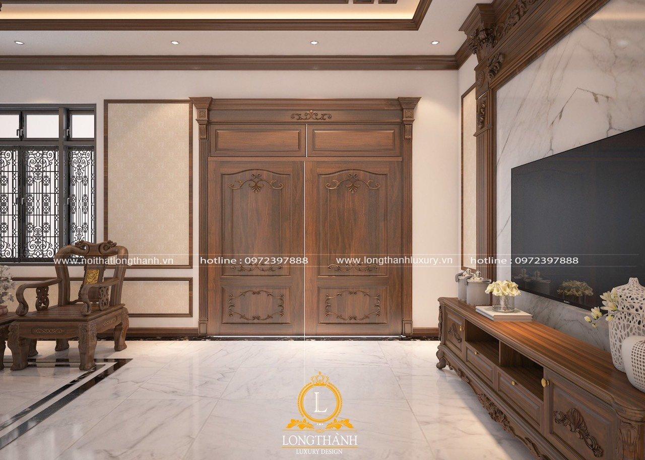 Mẫu cửa gỗ biệt thự tân cổ điển