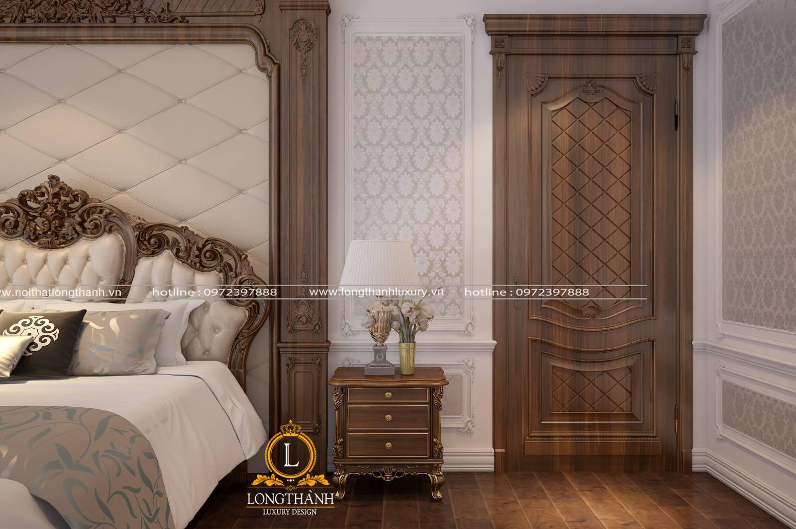 Mẫu cửa gỗ căm xe cho phòng ngủ với màu sắc và trang trí bắt mắt