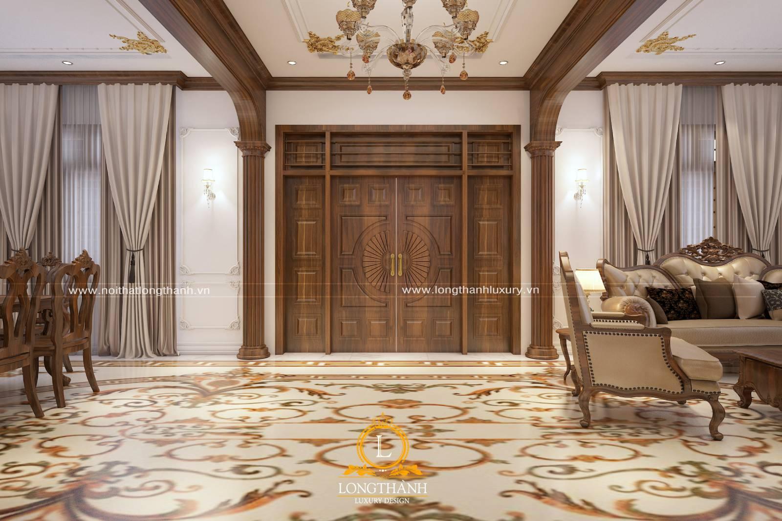 Mẫu cửa gỗ cho cho không gian phòng khách được nhều người yêu thích