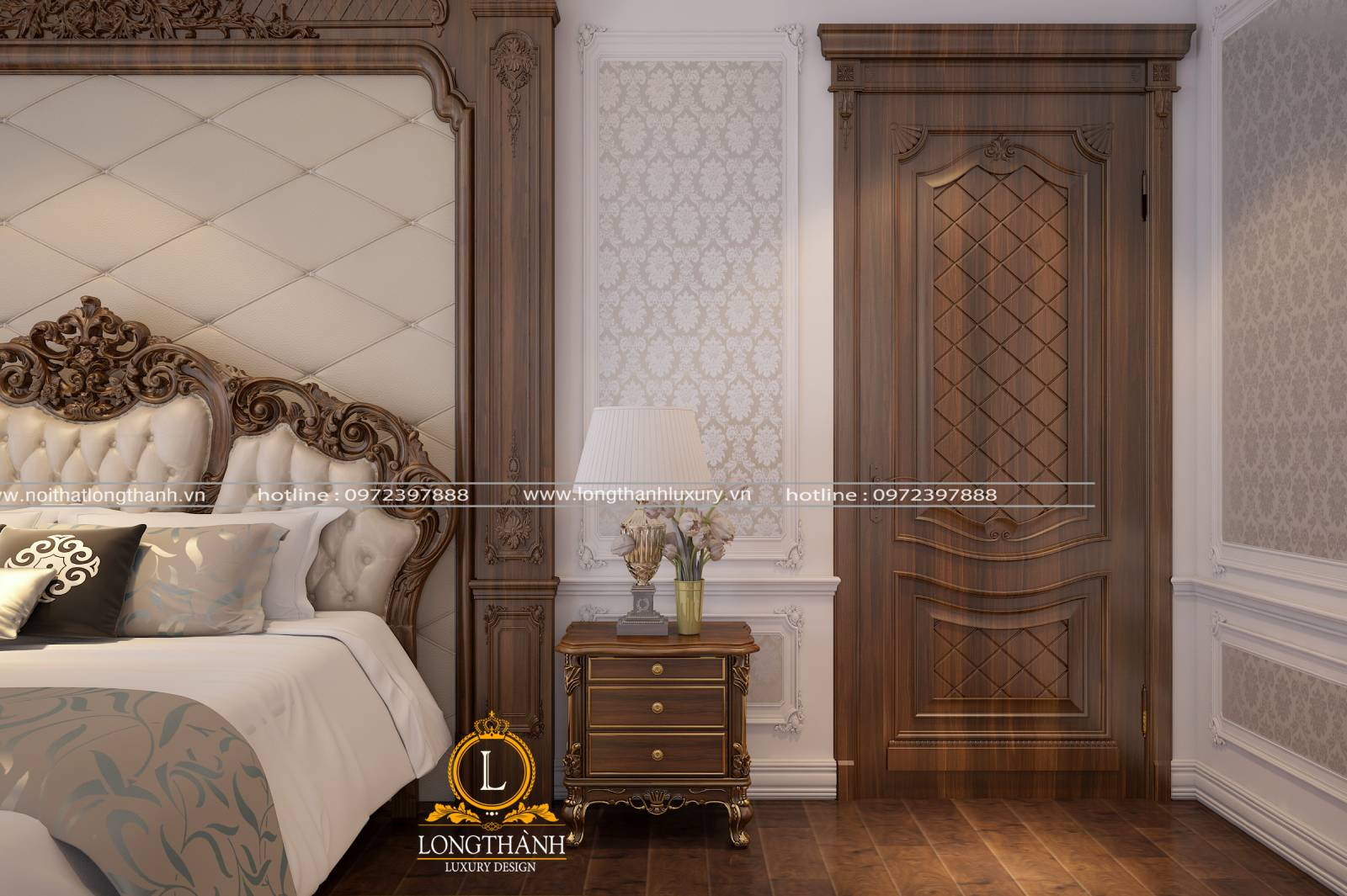 Thiết kế cửa gỗ tự nhiên nguyên khối làm từ gỗ Óc chó sang trọng