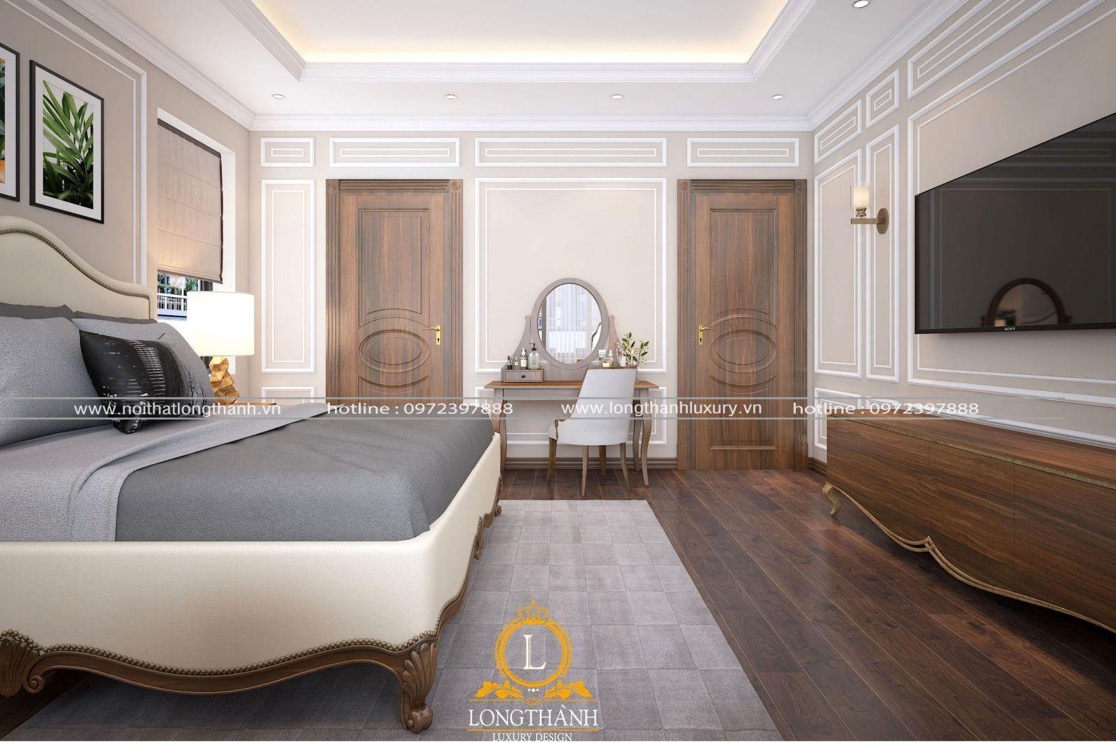 Cửa thông phòng phòng ngủ master và phòng vệ sinh cóđường vân đều đẹp