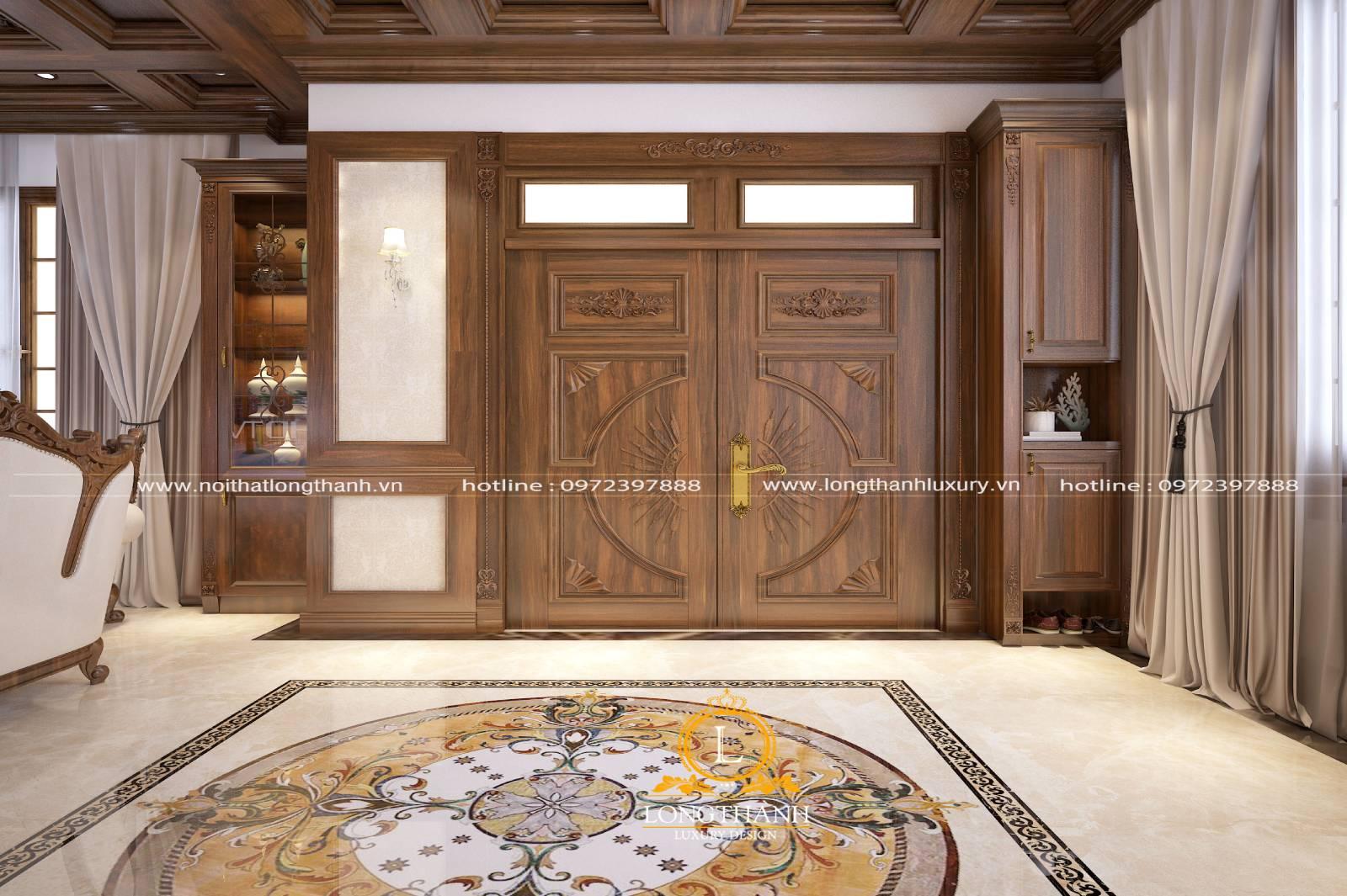 Mâu cửa gỗ tự nhiên 2 cánh đẹp cho phòng khách làm từ gỗ sồi mỹ
