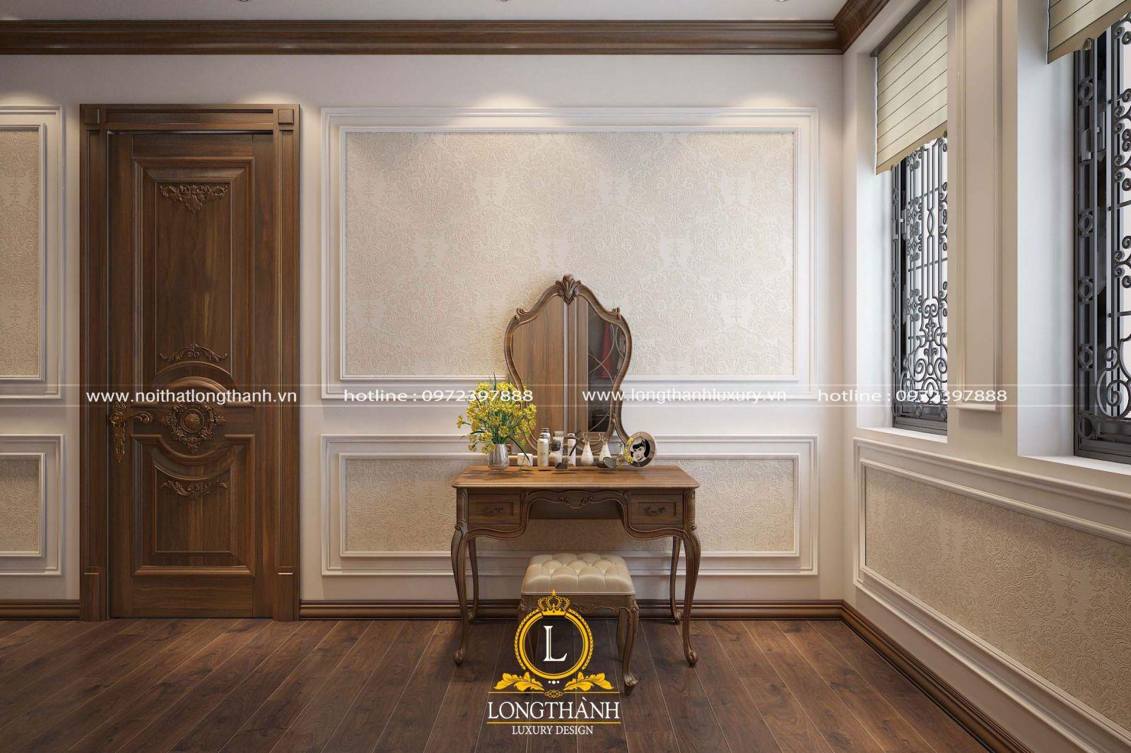Cửa thông phòng trong phòng ngủ tân cổ điển làm từ gỗ Sồi nguyên tấm
